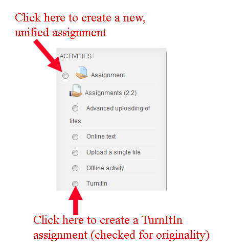 Moodle Assignment Types