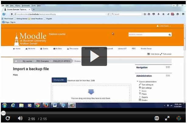 Partial Demonstration – Moodle Backup and Restore